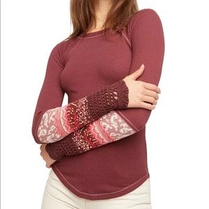 Free People In The Mix Cuff Thermal Top Maroon L
